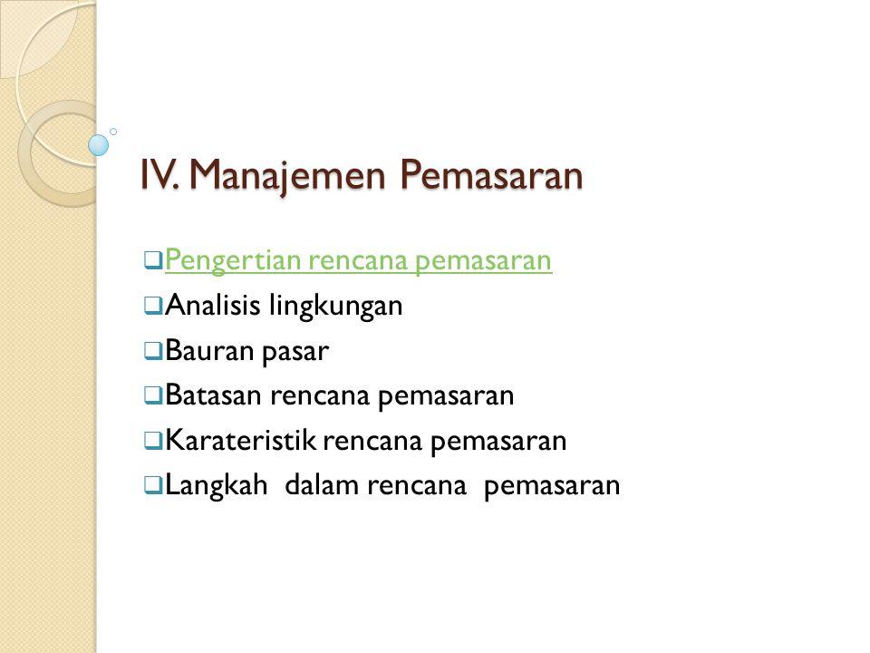 IV. Manajemen Pemasaran