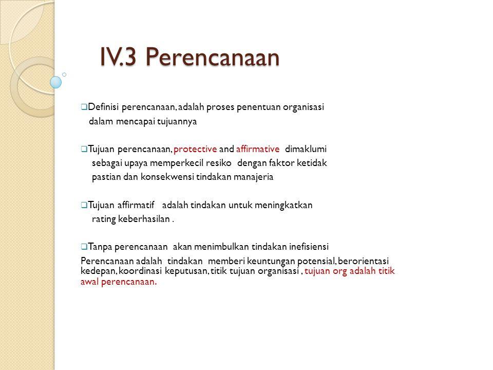 IV.3 Perencanaan Definisi perencanaan, adalah proses penentuan organisasi. dalam mencapai tujuannya.