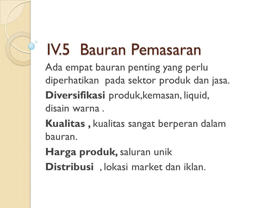 IV.5 Bauran Pemasaran Ada empat bauran penting yang perlu diperhatikan pada sektor produk dan jasa.