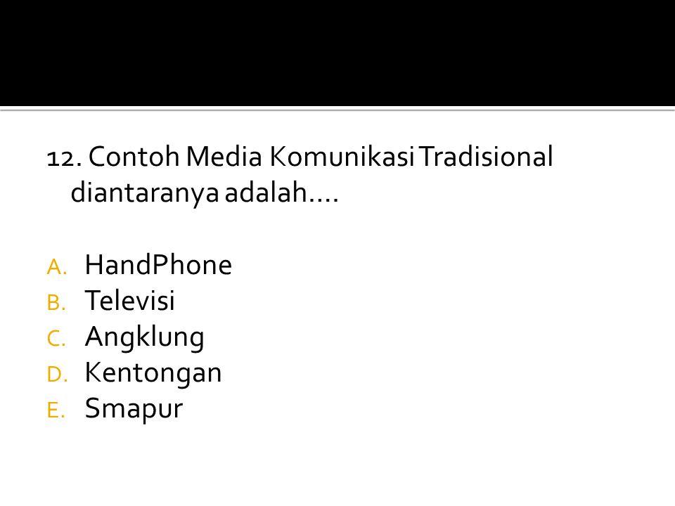 12. Contoh Media Komunikasi Tradisional diantaranya adalah….