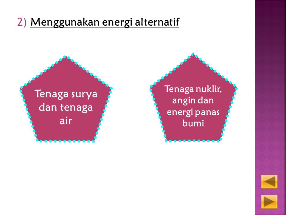 Tenaga nuklir, angin dan energi panas bumi Tenaga surya dan tenaga air