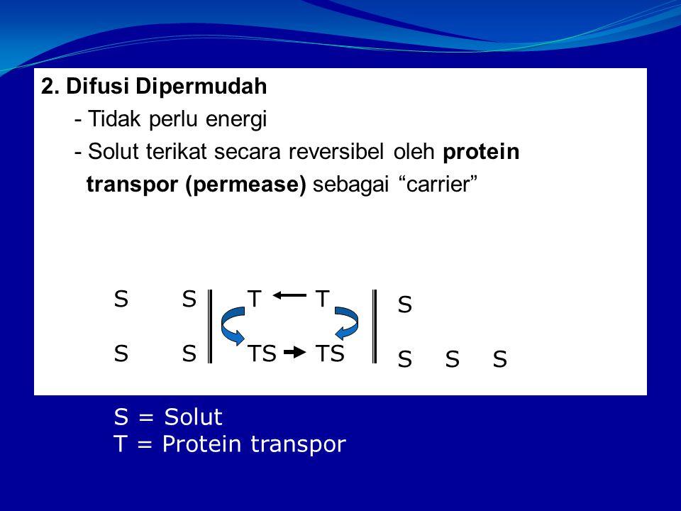 2. Difusi Dipermudah - Tidak perlu energi. - Solut terikat secara reversibel oleh protein. transpor (permease) sebagai carrier