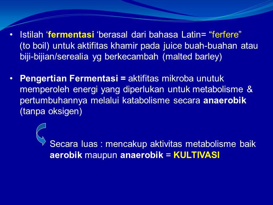 Istilah 'fermentasi 'berasal dari bahasa Latin= ferfere