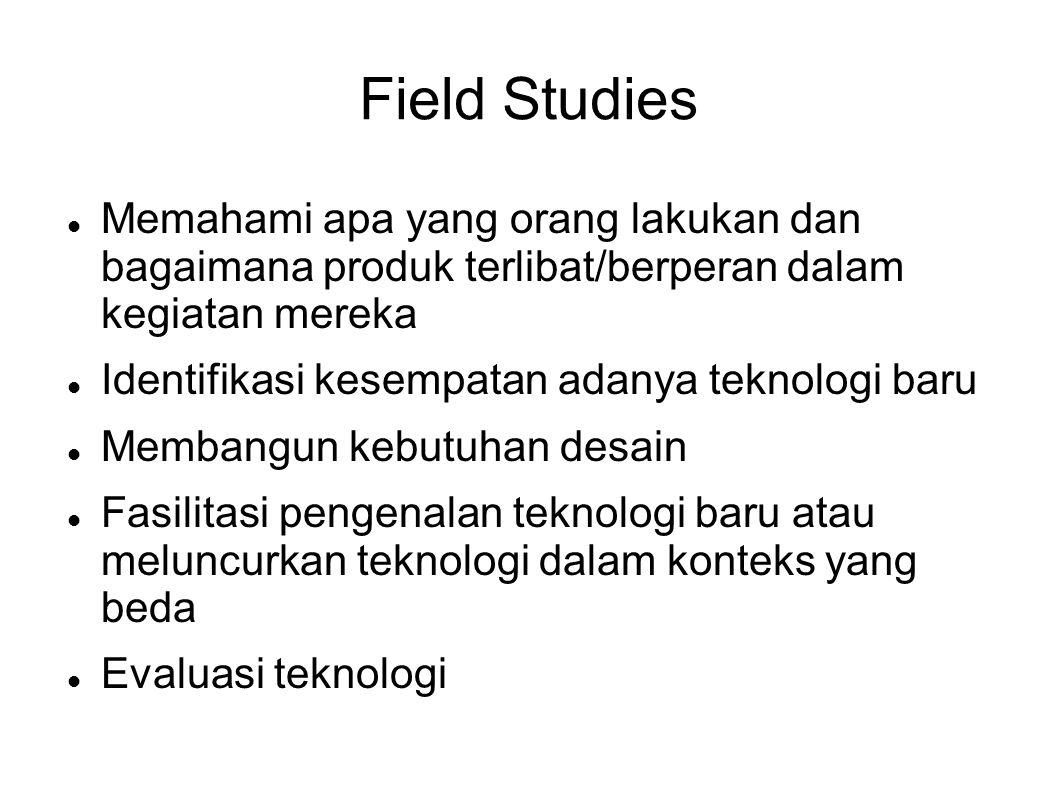 Field Studies Memahami apa yang orang lakukan dan bagaimana produk terlibat/berperan dalam kegiatan mereka.