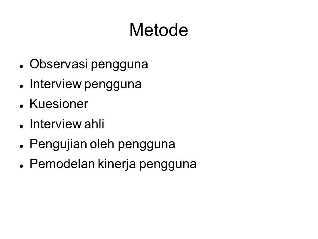 Metode Observasi pengguna Interview pengguna Kuesioner Interview ahli