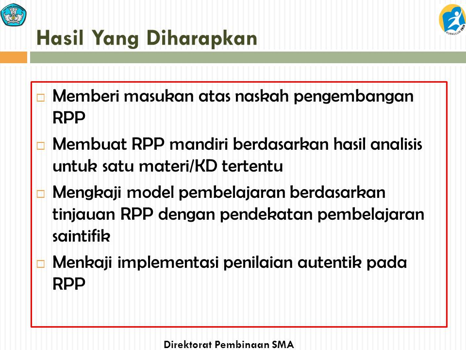 Hasil Yang Diharapkan Memberi masukan atas naskah pengembangan RPP