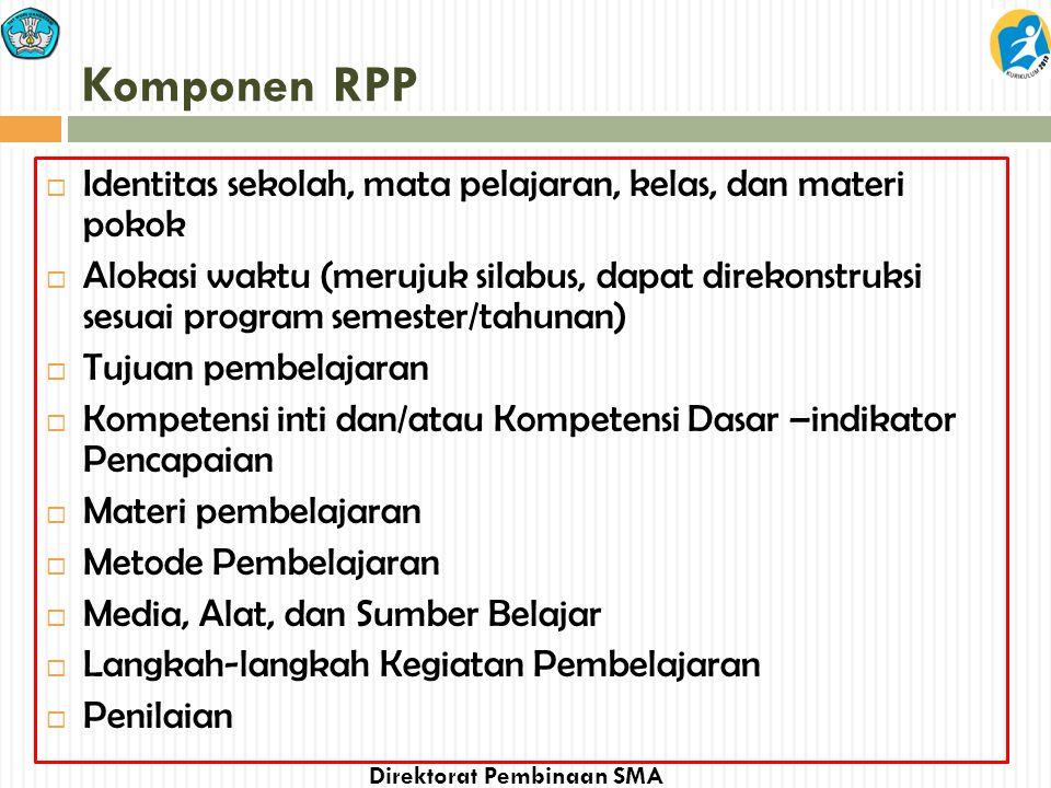 Komponen RPP Identitas sekolah, mata pelajaran, kelas, dan materi pokok.