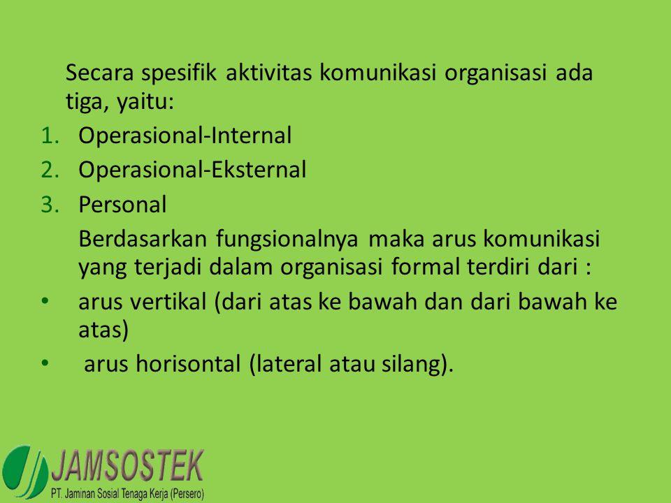 Secara spesifik aktivitas komunikasi organisasi ada tiga, yaitu: