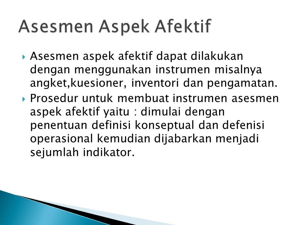Asesmen Aspek Afektif Asesmen aspek afektif dapat dilakukan dengan menggunakan instrumen misalnya angket,kuesioner, inventori dan pengamatan.
