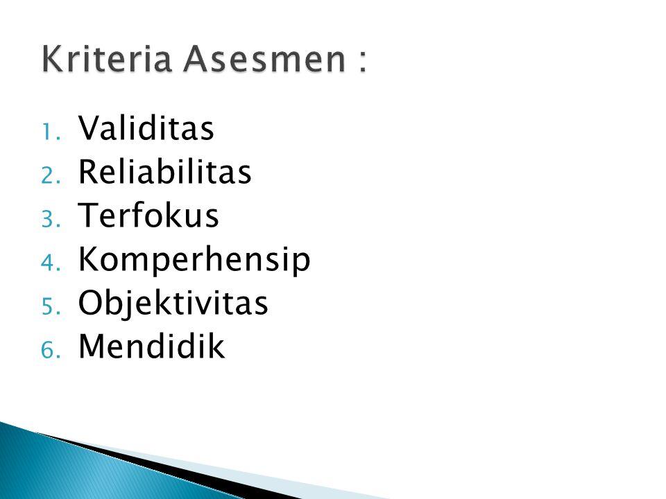 Kriteria Asesmen : Validitas Reliabilitas Terfokus Komperhensip