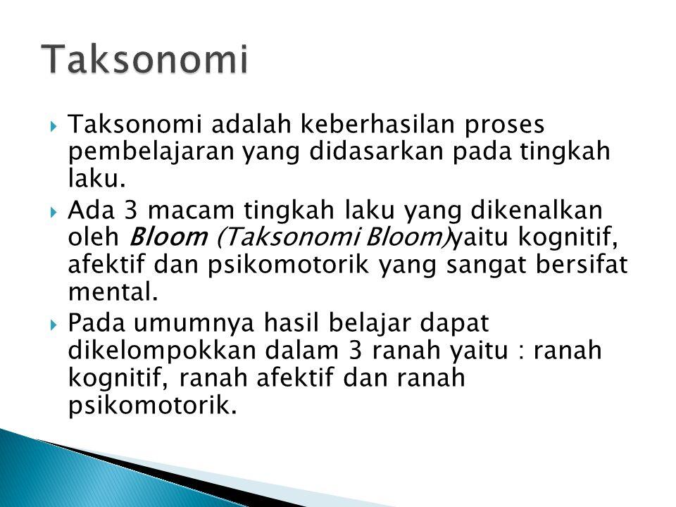 Taksonomi Taksonomi adalah keberhasilan proses pembelajaran yang didasarkan pada tingkah laku.