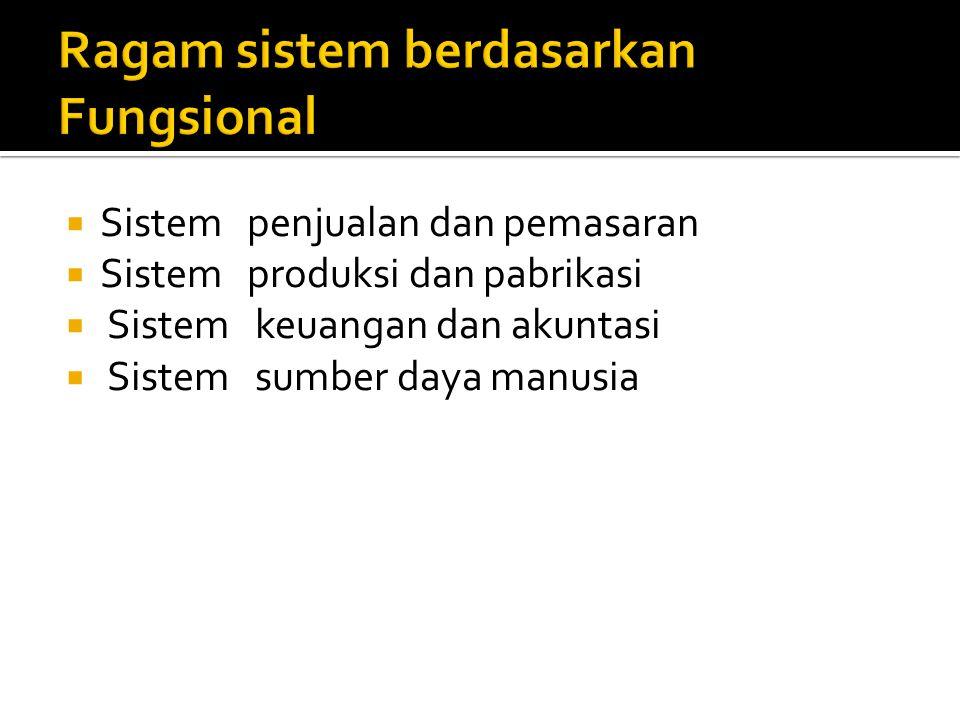 Ragam sistem berdasarkan Fungsional