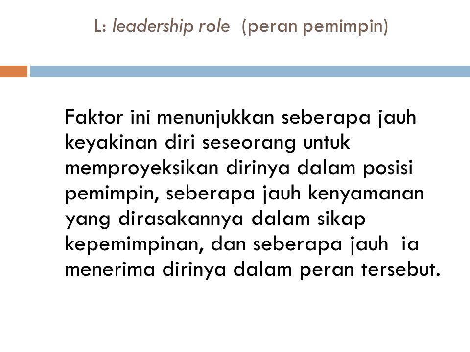L: leadership role (peran pemimpin)