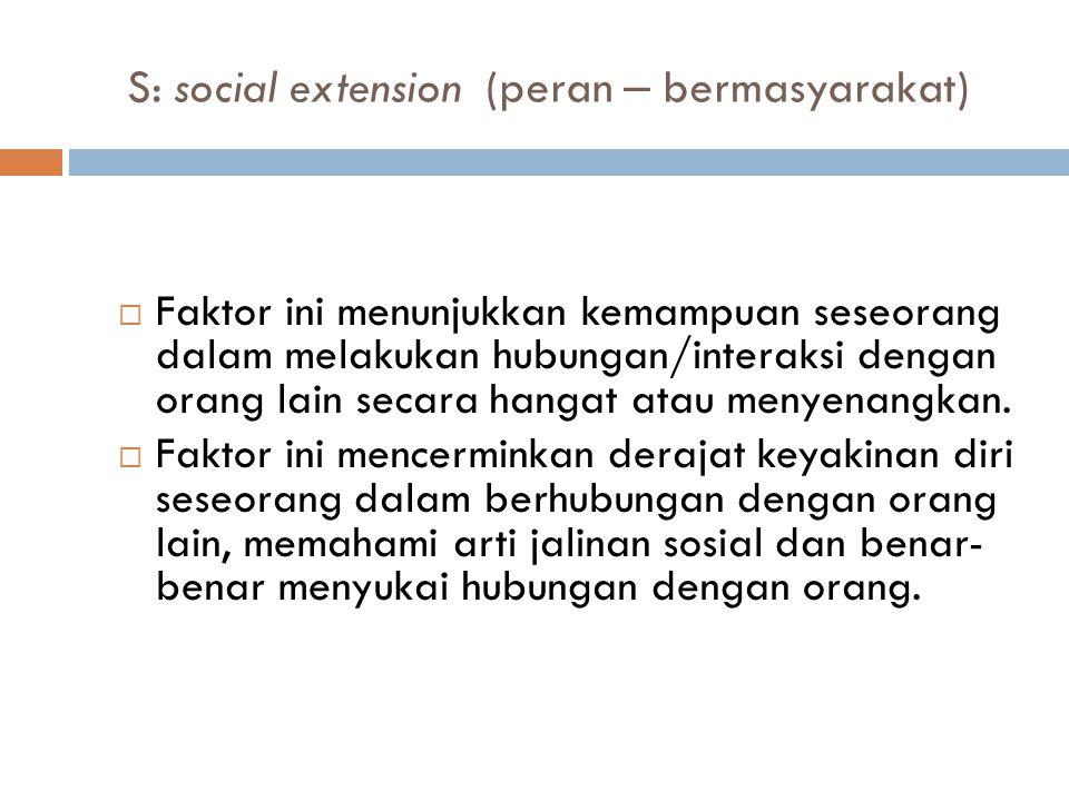 S: social extension (peran – bermasyarakat)