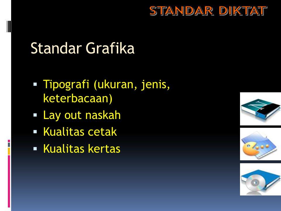 Standar Grafika STANDAR DIKTAT Tipografi (ukuran, jenis, keterbacaan)