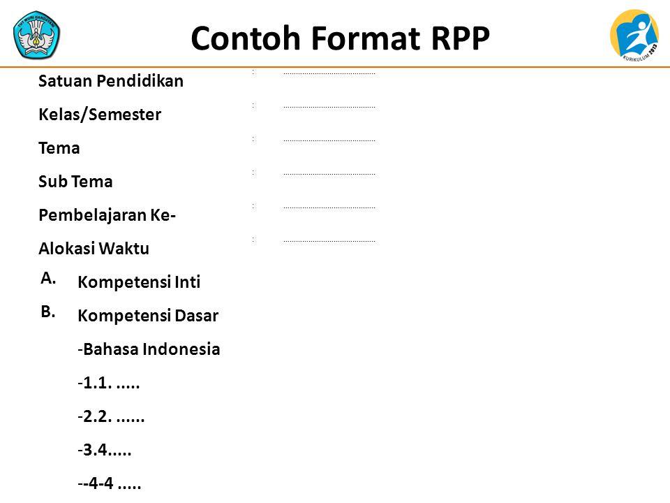 Contoh Format RPP Satuan Pendidikan Kelas/Semester Tema Sub Tema