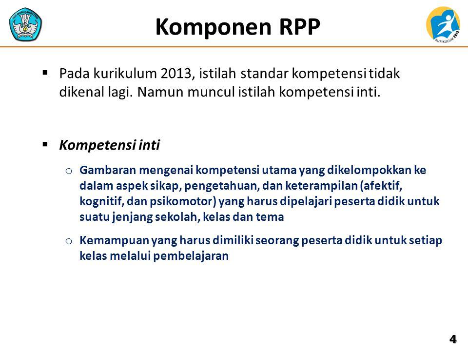 Komponen RPP Pada kurikulum 2013, istilah standar kompetensi tidak dikenal lagi. Namun muncul istilah kompetensi inti.