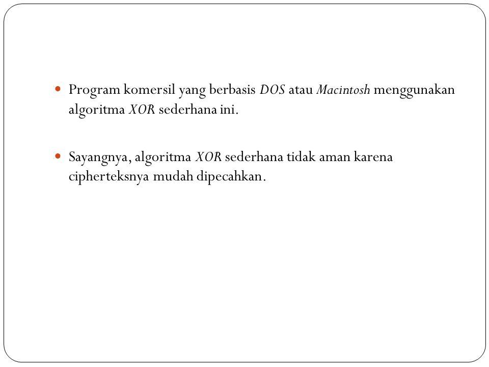 Program komersil yang berbasis DOS atau Macintosh menggunakan algoritma XOR sederhana ini.