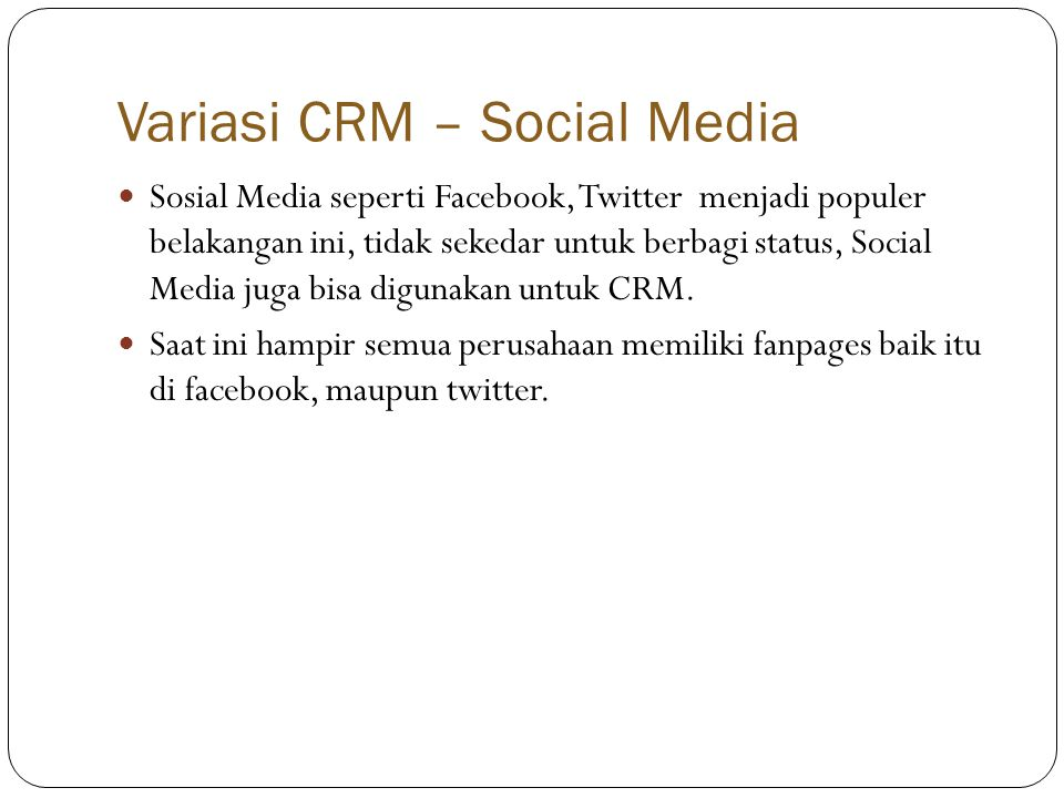 Variasi CRM – Social Media