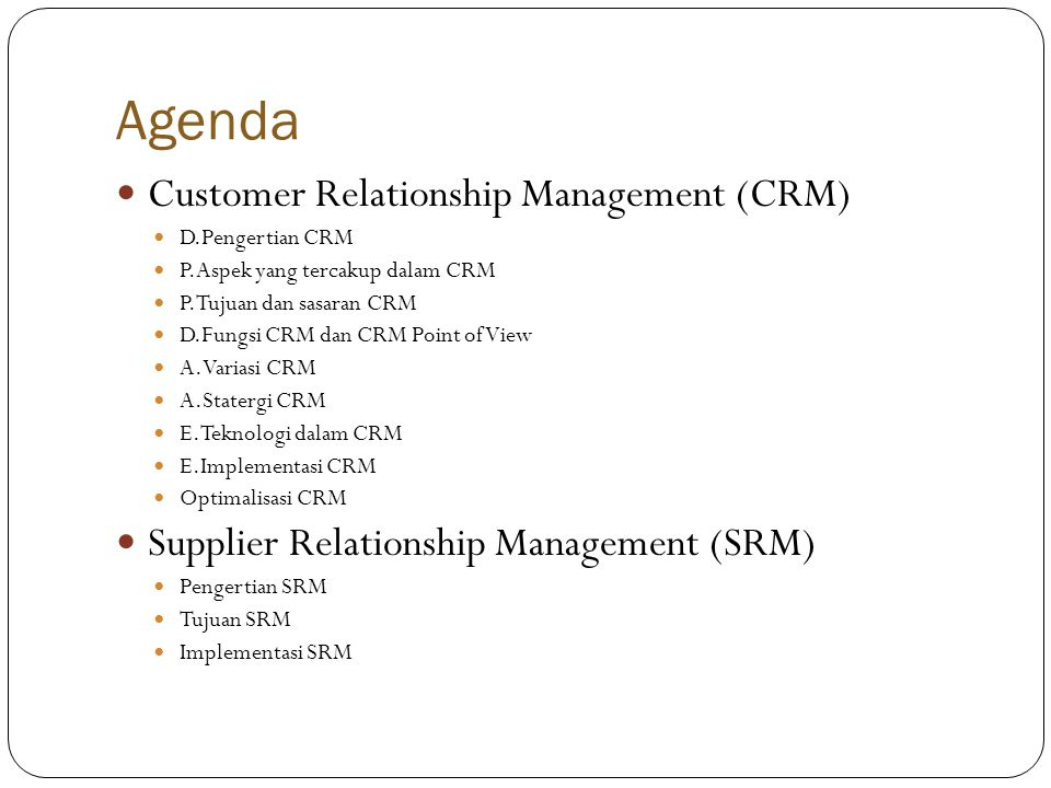 Agenda Customer Relationship Management (CRM)