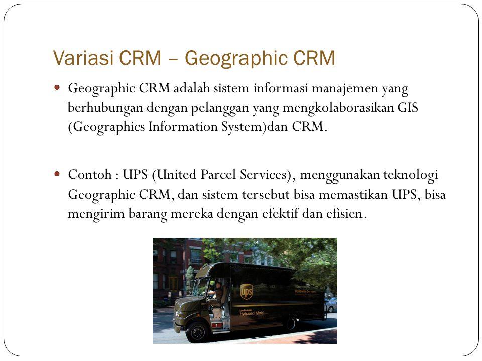 Variasi CRM – Geographic CRM