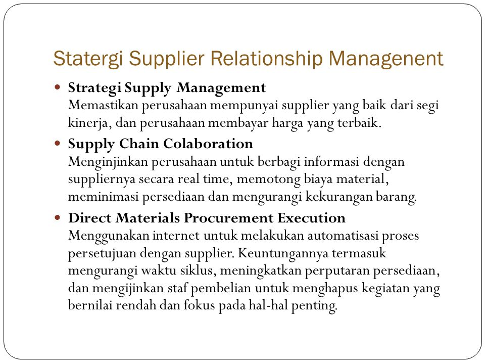 Statergi Supplier Relationship Managenent