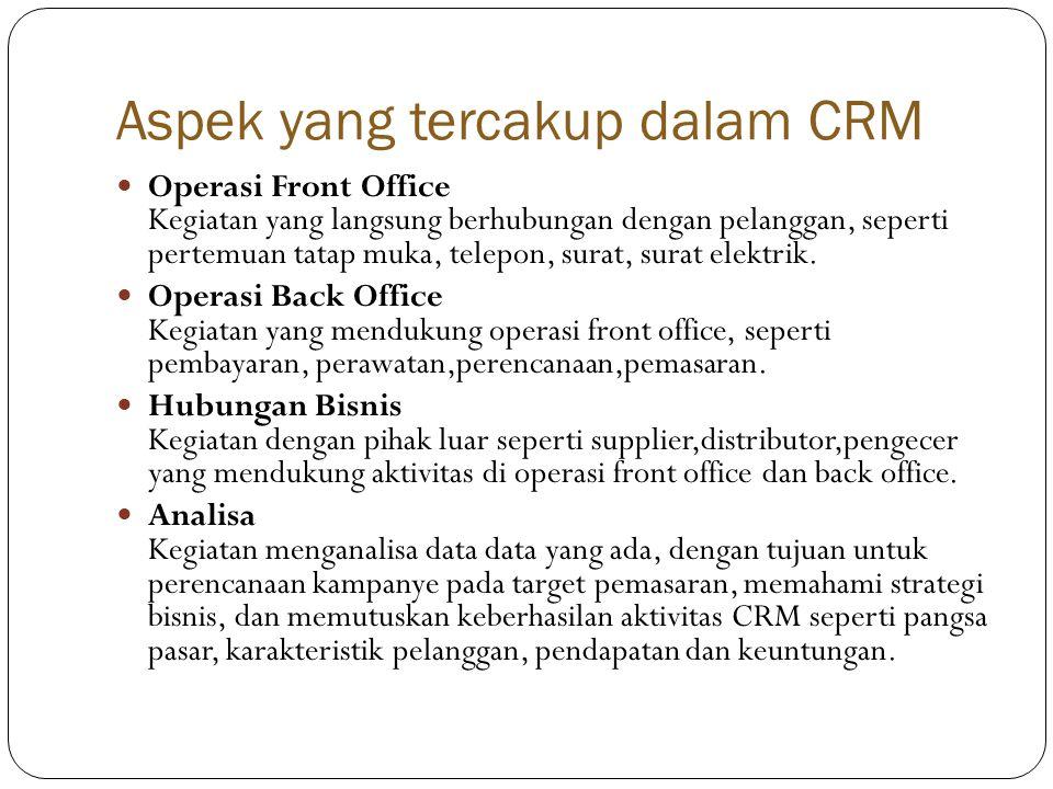 Aspek yang tercakup dalam CRM