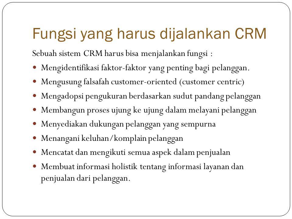 Fungsi yang harus dijalankan CRM