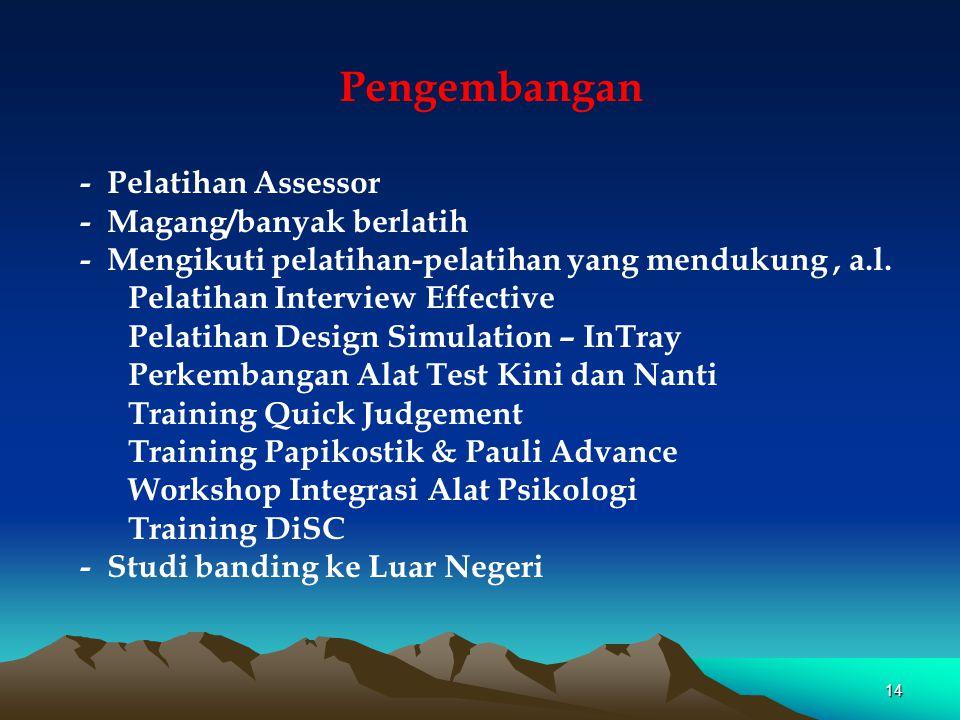 Pengembangan - Pelatihan Assessor - Magang/banyak berlatih