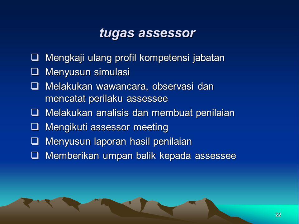 tugas assessor Mengkaji ulang profil kompetensi jabatan