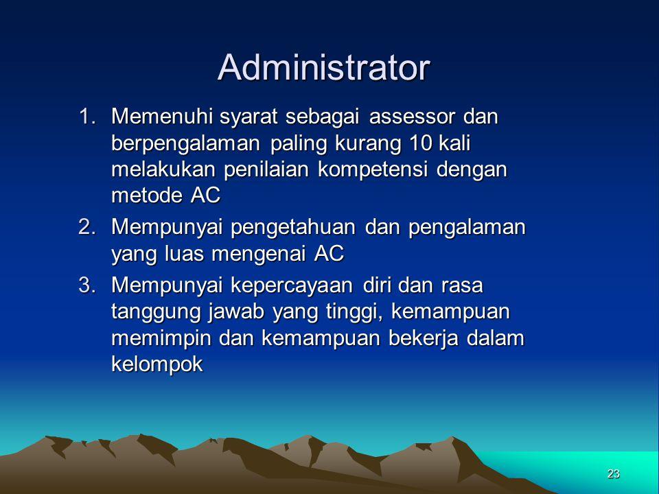 Administrator Memenuhi syarat sebagai assessor dan berpengalaman paling kurang 10 kali melakukan penilaian kompetensi dengan metode AC.