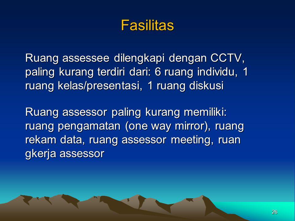 Fasilitas Ruang assessee dilengkapi dengan CCTV, paling kurang terdiri dari: 6 ruang individu, 1 ruang kelas/presentasi, 1 ruang diskusi.
