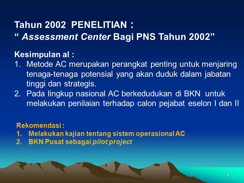 Assessment Center Bagi PNS Tahun 2002