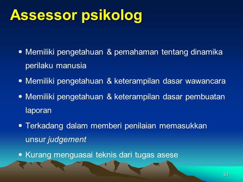 Assessor psikolog Memiliki pengetahuan & pemahaman tentang dinamika perilaku manusia. Memiliki pengetahuan & keterampilan dasar wawancara.