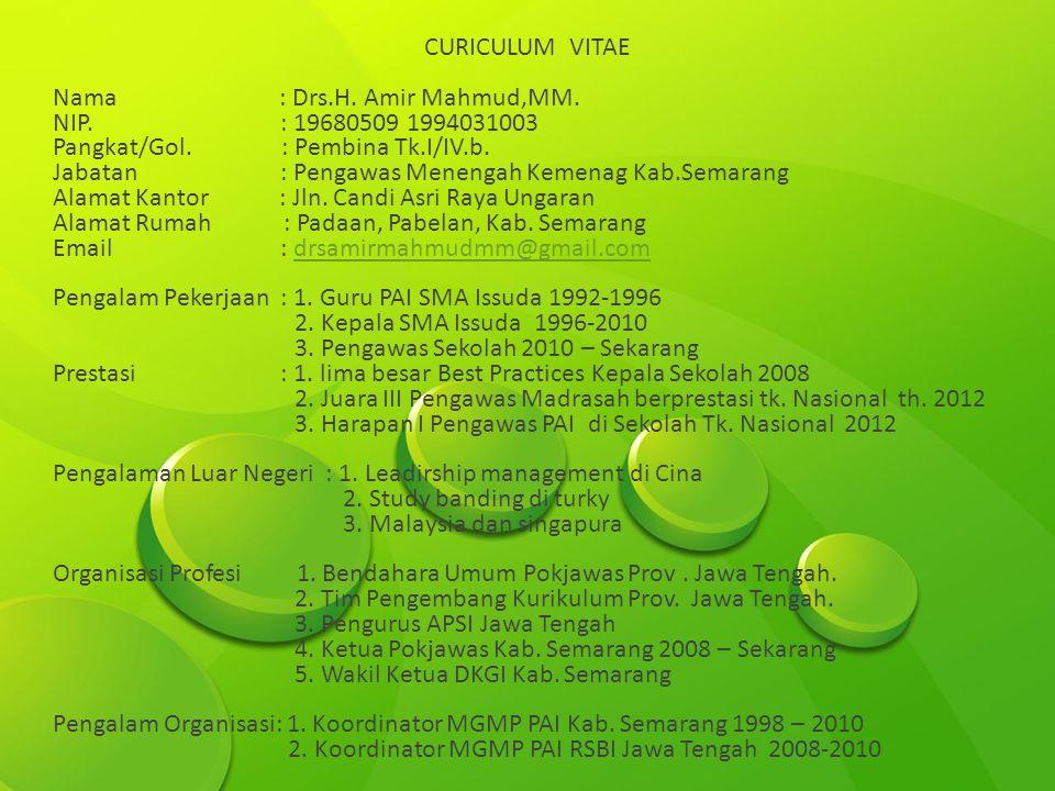 CURICULUM VITAE Nama : Drs. H. Amir Mahmud,MM. NIP