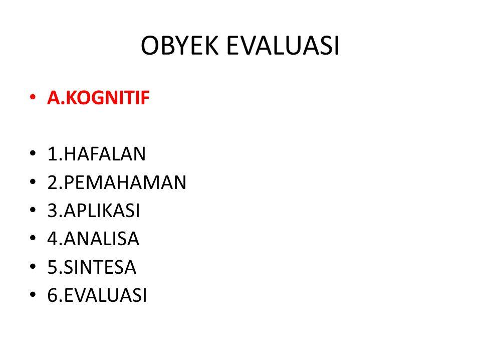 OBYEK EVALUASI A.KOGNITIF 1.HAFALAN 2.PEMAHAMAN 3.APLIKASI 4.ANALISA