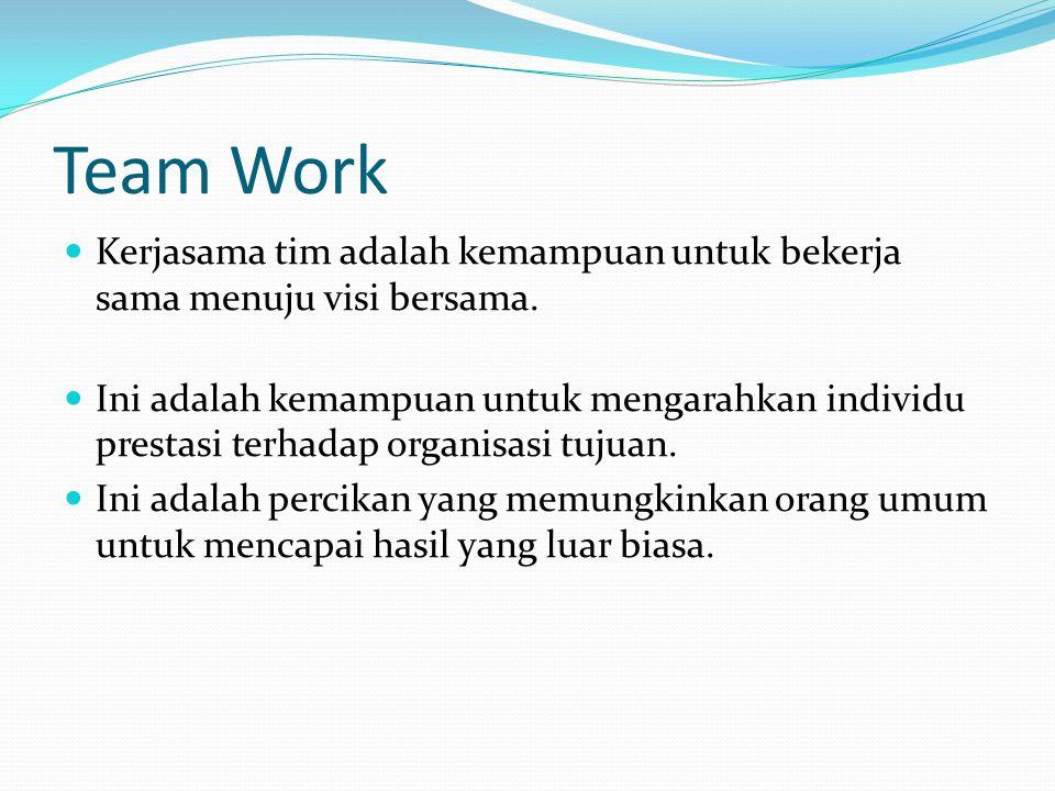 Team Work Kerjasama tim adalah kemampuan untuk bekerja sama menuju visi bersama.