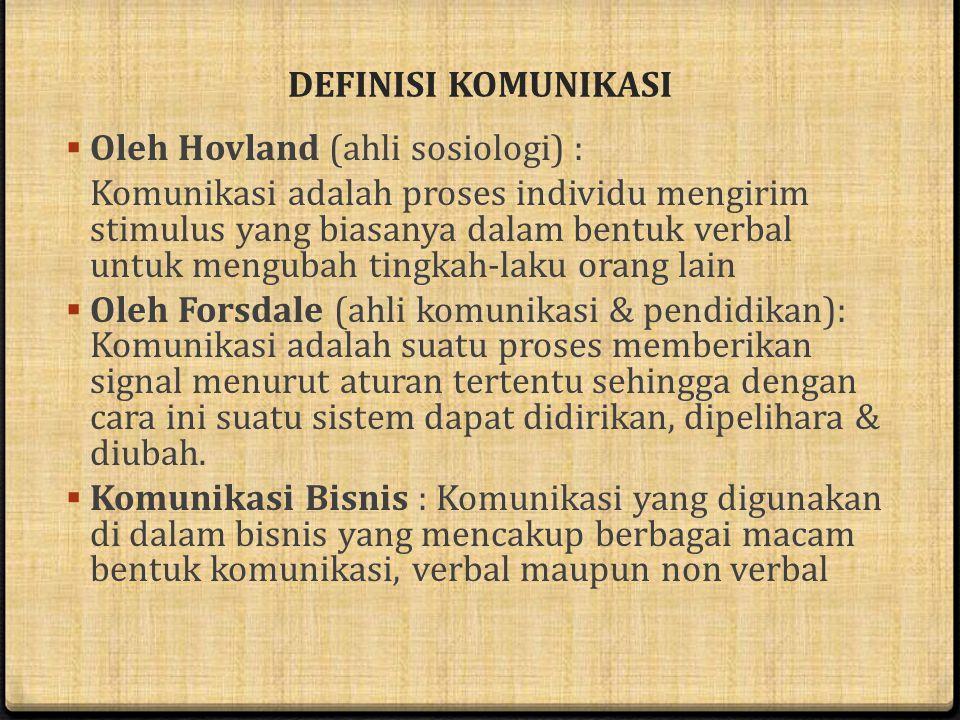DEFINISI KOMUNIKASI Oleh Hovland (ahli sosiologi) :