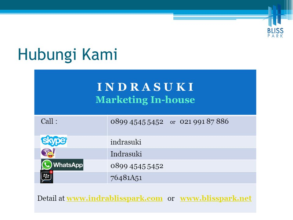 Hubungi Kami I N D R A S U K I Marketing In-house Call :