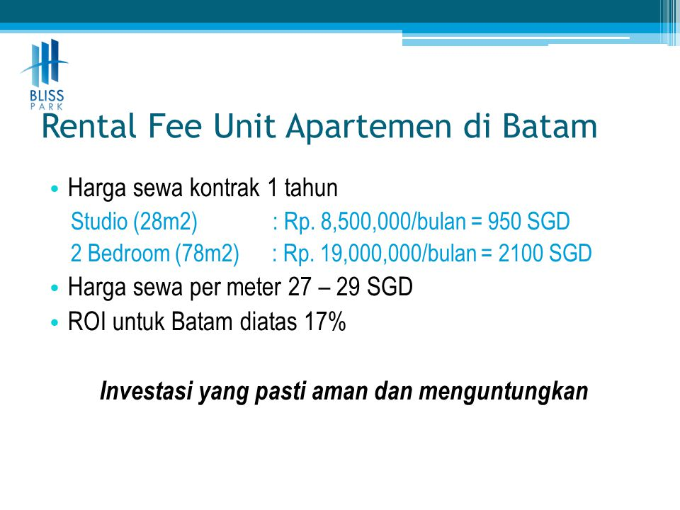 Rental Fee Unit Apartemen di Batam