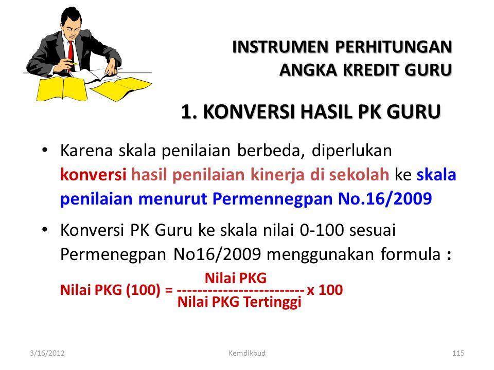 1. KONVERSI HASIL PK GURU INSTRUMEN PERHITUNGAN ANGKA KREDIT GURU