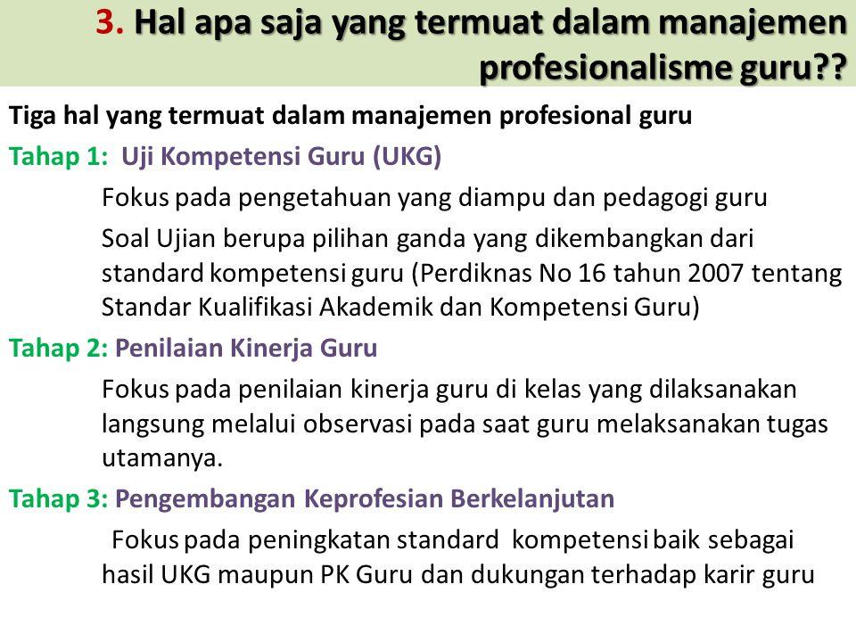 3. Hal apa saja yang termuat dalam manajemen profesionalisme guru