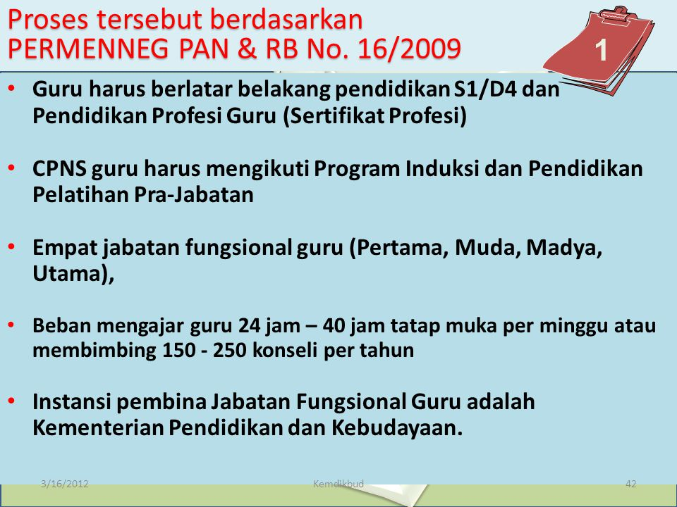 Proses tersebut berdasarkan PERMENNEG PAN & RB No. 16/2009