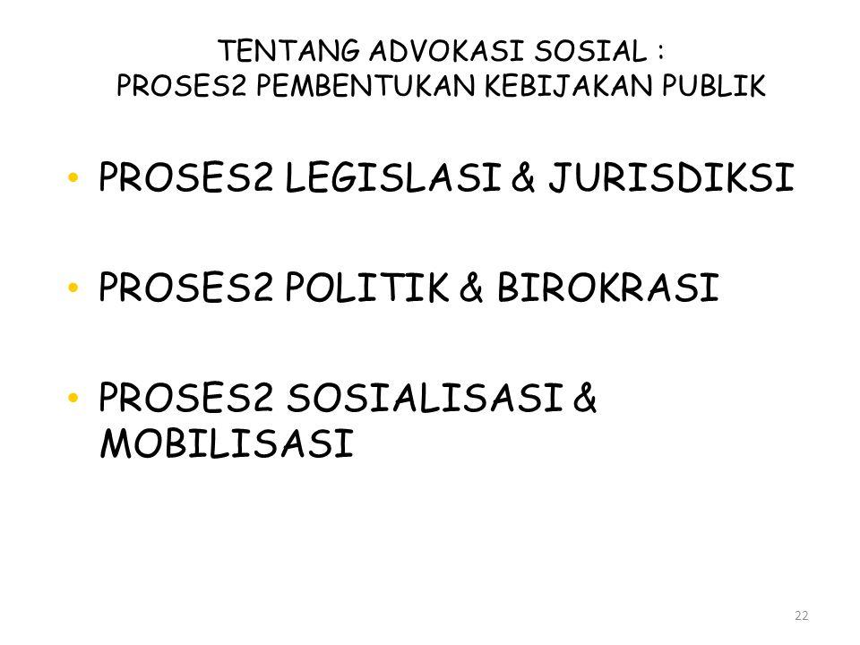 TENTANG ADVOKASI SOSIAL : PROSES2 PEMBENTUKAN KEBIJAKAN PUBLIK
