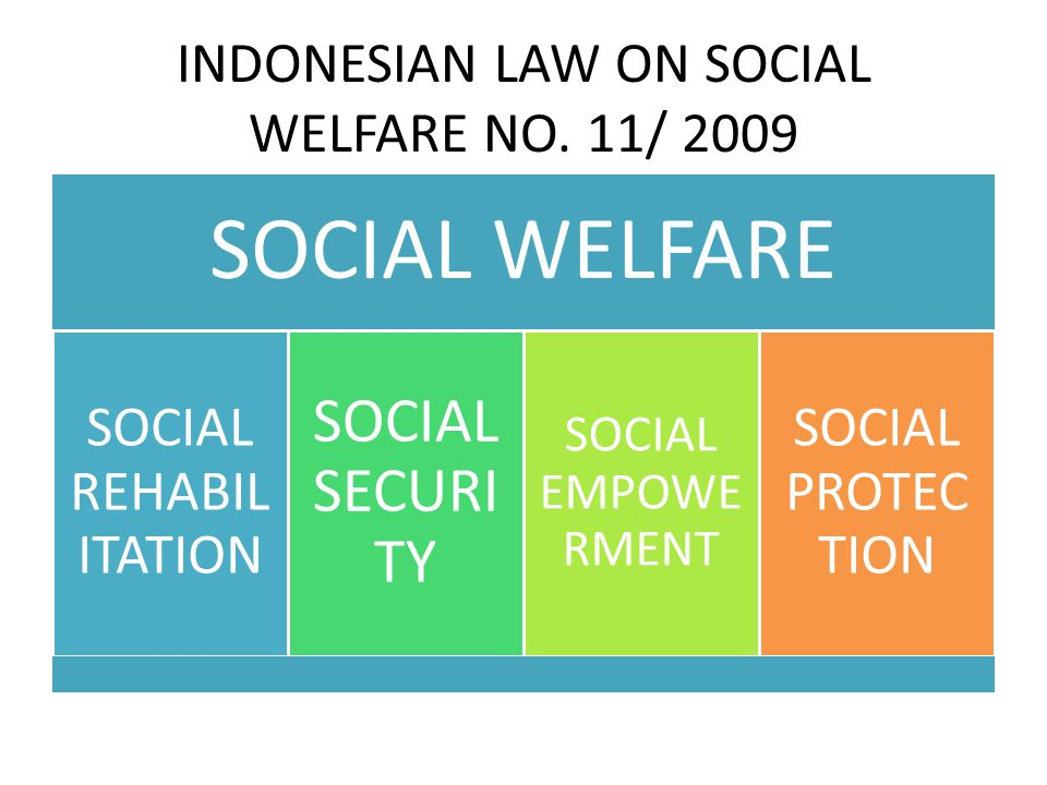 INDONESIAN LAW ON SOCIAL WELFARE NO. 11/ 2009