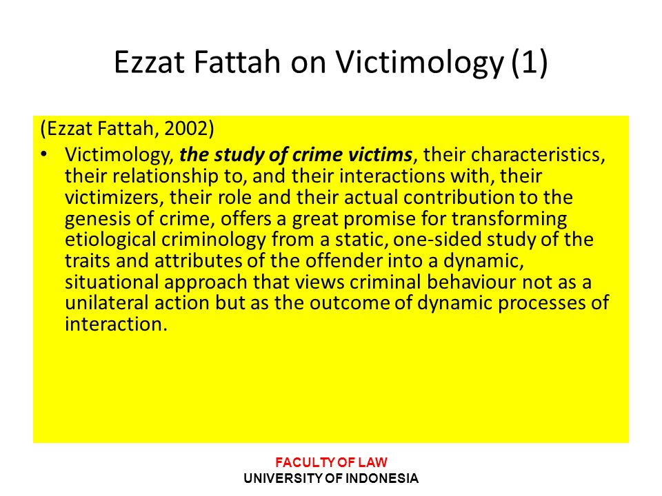 Ezzat Fattah on Victimology (1)