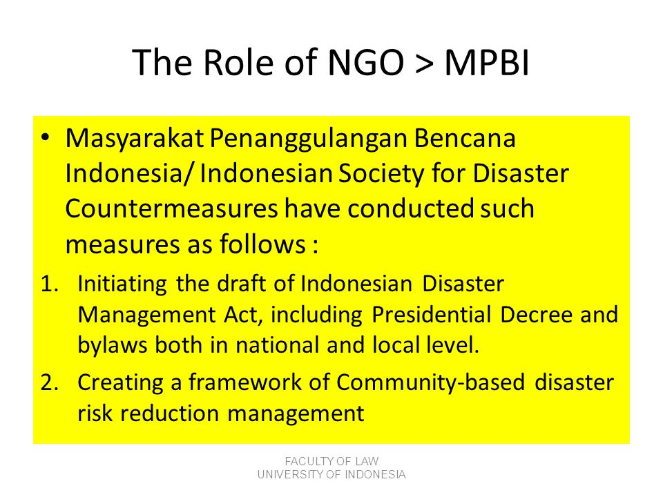The Role of NGO > MPBI
