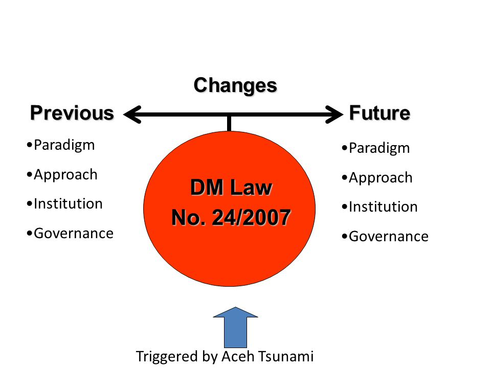 DM Law No. 24/2007 Changes Previous Future Paradigm Paradigm Approach