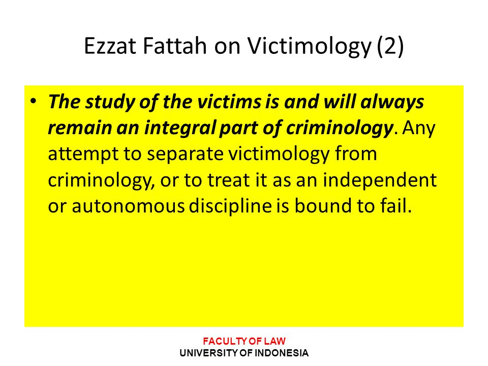 Ezzat Fattah on Victimology (2)