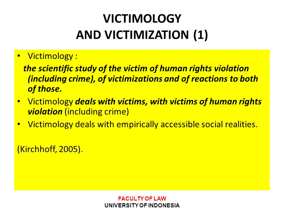 VICTIMOLOGY AND VICTIMIZATION (1)